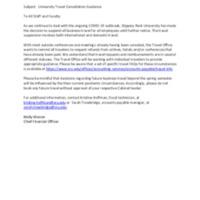 University Travel Cancellation Guidance