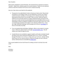 President Behre's Update to Students, March 27